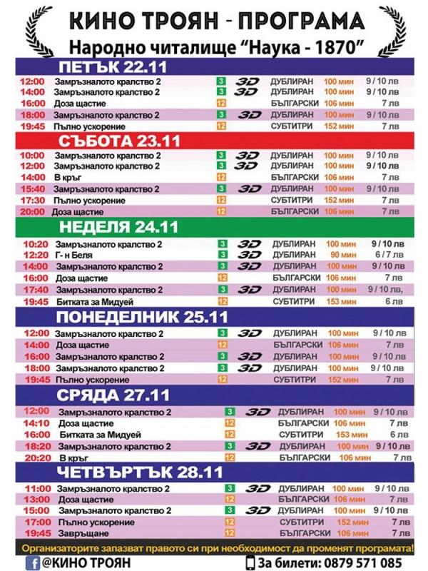 Програма Кино Троян (22-28 ноември 2019)